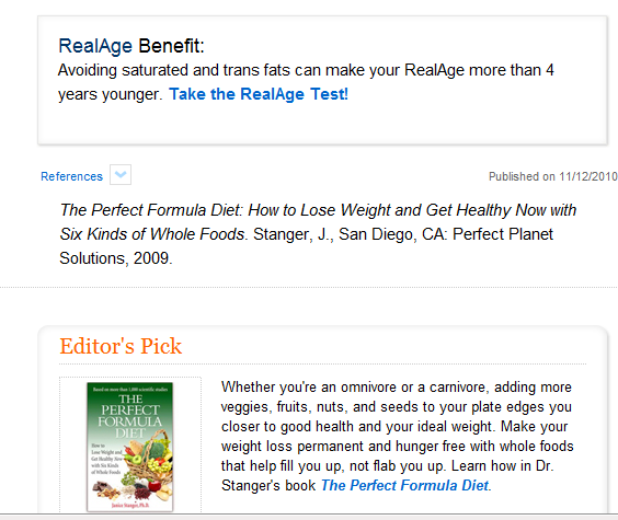 Perfect Formula Diet book (Janice Stanger) - a healthy whole-foods lifestyle Perfect Formula Diet