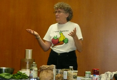 Patti give a talk and food demo. Her work educating others of the benefits of eating plant-based had an important influence on my own life
