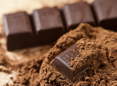 The cocoa powder is low in calories and fat but high in beneficial nutrients. The dark chocolate also has the nutrients, but is much denser in fat and calories.