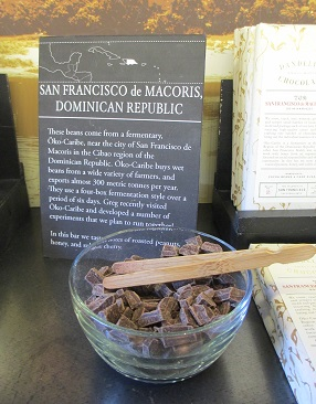 The Dandelion Chocolate sales locations offer samples of their single-source bars