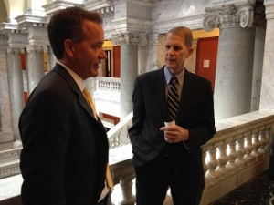Nelson Campbell and Rep. Tom Riner strategize on how to get their bill passed to advance the health of people in Kentucky