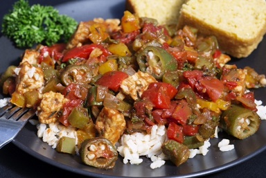 Jambalaya is another PlantPure Nation Cookbook recipe that showcases the range of Kim's talents