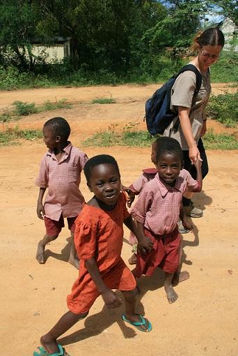 Wendy meets local children in Kenya