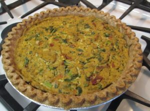 This savory vegan dinner pie is a masterpiece of flavor. Angela cooked it for us during her visit, see recipe at the link to the blog