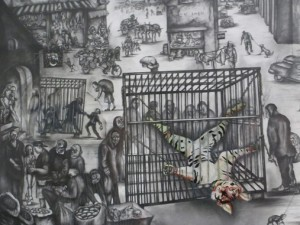 Patty's soul-touching collection of Sue Coe art includes an unblinking depiction of this scene of pain. It's even more compelling up close, because of all the details of more animal suffering in the background
