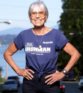 Dr. Ruth enjoys her extensive collection of racing T shirts
