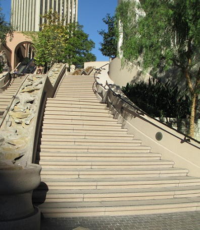 Instead of an elevator, change is a long flight of stairs with several landings