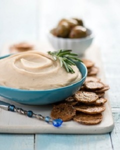 The lovely white bean and rosemary dip is a Vegiterranean Diet recipe that's easy to make and versatile to enjoy
