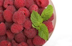 How about some delicious colorful raspberries with fresh mint for breakfast, instead of greasy toxic bacon?