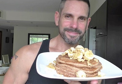 Jeff Morgan shows off his signature pancakes topped with fruit. He has fun with his plant-based recipes, sharing them on his channel Guilt Free Vegan